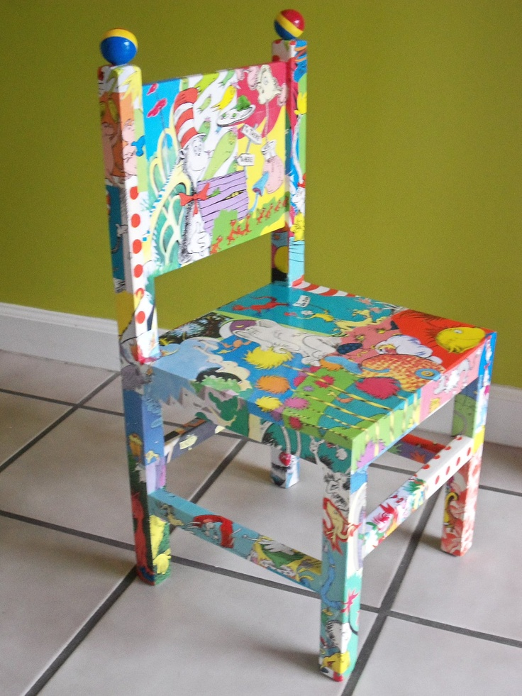 Dr Seuss Decoupaged Wood Child S Chair Cat In The Hat