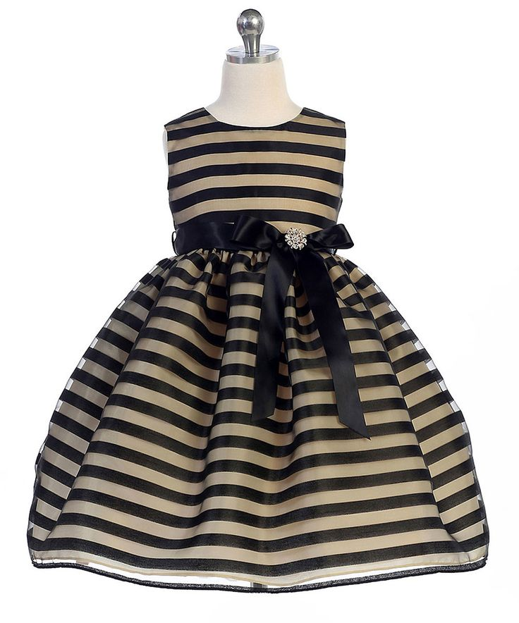 Look what I found on #zulily! Crayon Kids Taupe & Black Stripe Sleeveless Dress - Toddler & Girls by Crayon Kids #zulilyfinds