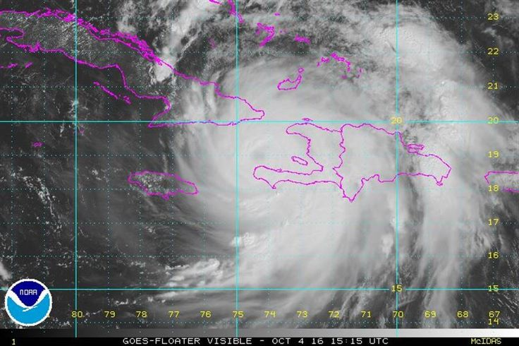 According to the National Oceanographic and Atmospheric Administration's National Hurricane Center in Miami, Hurricane Matthew is centered about 30 nautical miles south of Tiburon, Haiti, and about 78 nautical miles south of the eastern tip of Cuba, moving north at more than 10 miles an hour. The storm's maximum sustained winds have been measured at 145 miles an hour, NOAA says. The eye of Hurricane Matthew is expected to hit far-eastern Cuba later Oct. 4, NHC forecasters say.