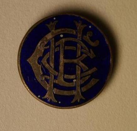 Antique+Hospital+Badge+Brooch+Blue+CBCH+Script+Writing+(myref165b)