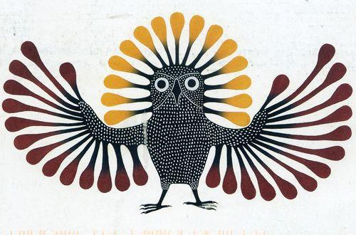 """ART - Art inuit : donner des modèles de chouette, juste pour le corps et la tête, ajouter les ailes, respecter l'espace de la feuille, l'uitliser en entier, ajouter les plumes sur la tête, façon """"couronne"""" et les plumes  sur les ailes, du plus petit au plus grand, avec une variation de couleur. Le corps est fait avec de la peinture noire, et les tâches blanches au coton de tige."""