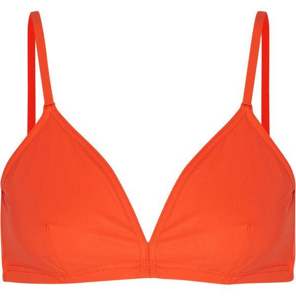 Orlebar Brown Hampton triangle bikini top ($51) ❤ liked on Polyvore featuring swimwear, bikinis, bikini tops, orange, swimsuit tops, triangle swim top, tankini tops, triangle bikini bottoms and swim top