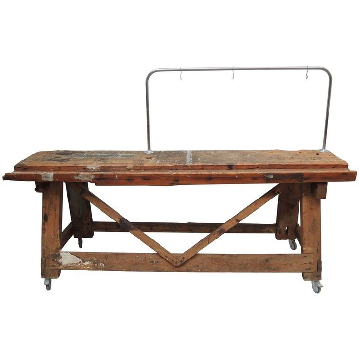 Belgian Carpenters Work Bench Table with Tool Hanging Rack | From a unique collection of antique and modern industrial and work tables at https://www.1stdibs.com/furniture/tables/industrial-work-tables/