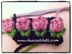 CInta de ganchillo de rositas_Crochet Flower Bud Headband