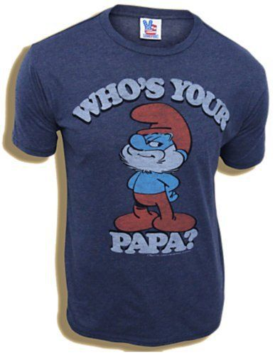 "Who's Your Papa?"""" ask Papa Smurf. Adult Heather Navy 50% cotton, 50% polyester Print is distressed for a vintage appeal Officially Licensed Athletic Fit More Smurfs items: The Smurfs Shirts"