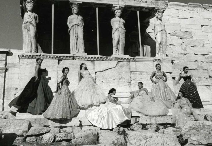 Christian Dior models under the caryatids of the Erechtheion temple on the north side of the Acropolis in Athens, Greece (1951).
