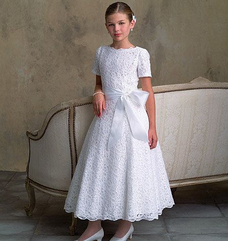 #Modest doesn't mean frumpy! #DressingWithDignity www.Colleenhammond.com FANCY DRESS PATTERN / Vogue Flower Girl / First Communion Dress / Girl Sizes 7 to 10 Or 12 to 16. $12.98, via Etsy.