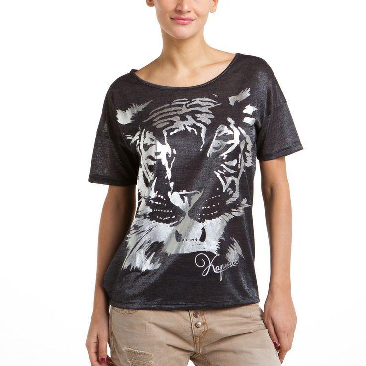 Asymmetrisch T-shirt met luipaardmotief voor dames Bayee KAPORAL