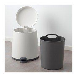 IKEA - SNÄPP, Poubelle à pédale, blanc, , La poignée située au dos de la poubelle vous permet de la déplacer facilement.Pour dissimuler les bords du sac lorsque la poubelle est fermée, il suffit de les glisser sous la poignée du compartiment intérieur.Facile à vider et à nettoyer car le seau intérieur peut être retiré.Vous pouvez utiliser cette poubelle dans toute la maison, y compris dans les zones humides telles que la cuisine et la salle de bain.