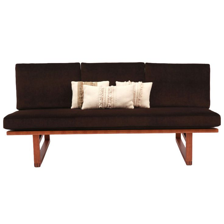 borge mogensen oak chocolate brown mohair and leather loveseat