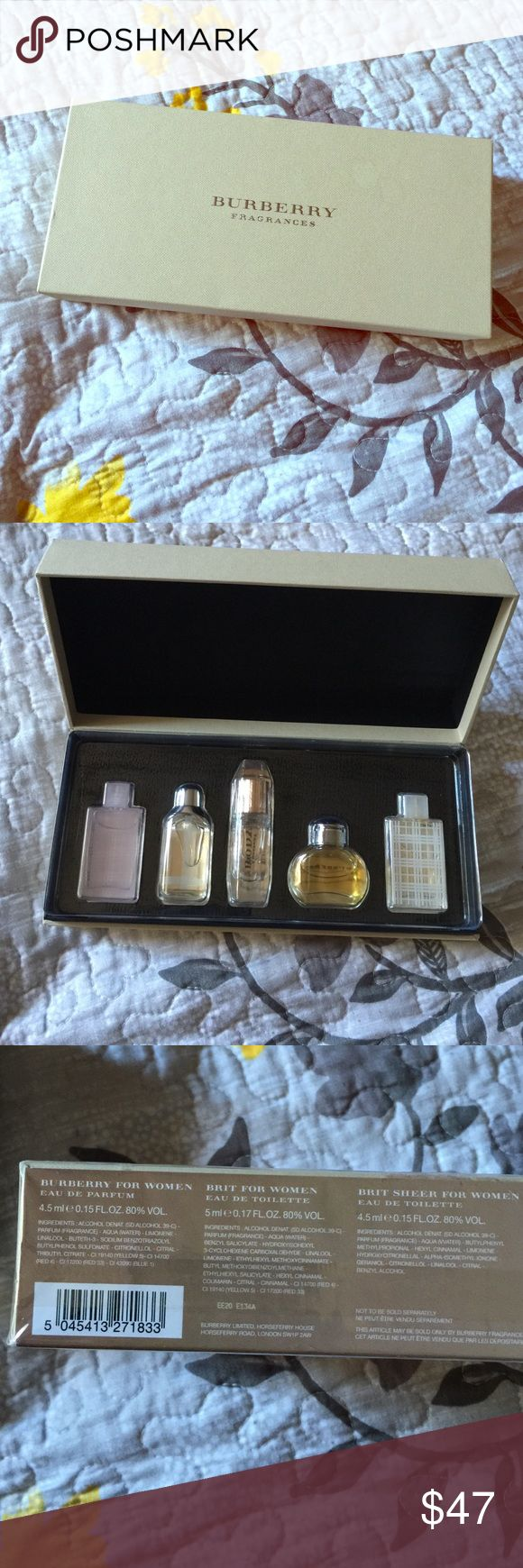 ✨Burberry Perfume Set✨ New, but opened the sealing to smell . 5 different Burberry fragrances in one box! Picture 3&4 shows description. I am selling another one brand new without seals opened for a higher price. This one is nothing different. Burberry Other
