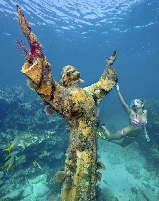 """The """"Christ Of The Abyss"""" Statue, An Underwater Icon At"""
