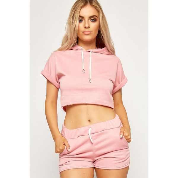 WearAll Baggy Cropped Hot Pants Loungewear Set ($32) ❤ liked on Polyvore featuring pink