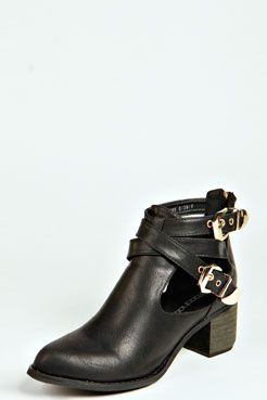 Lauren Double Buckle Cut Work Block Boot at boohoo.com