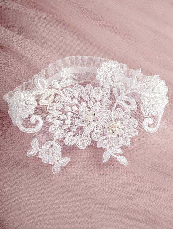 3718a0294dc Bridal Garter Wedding Garter Belt Beaded Ivory Garter Lace Garter ...