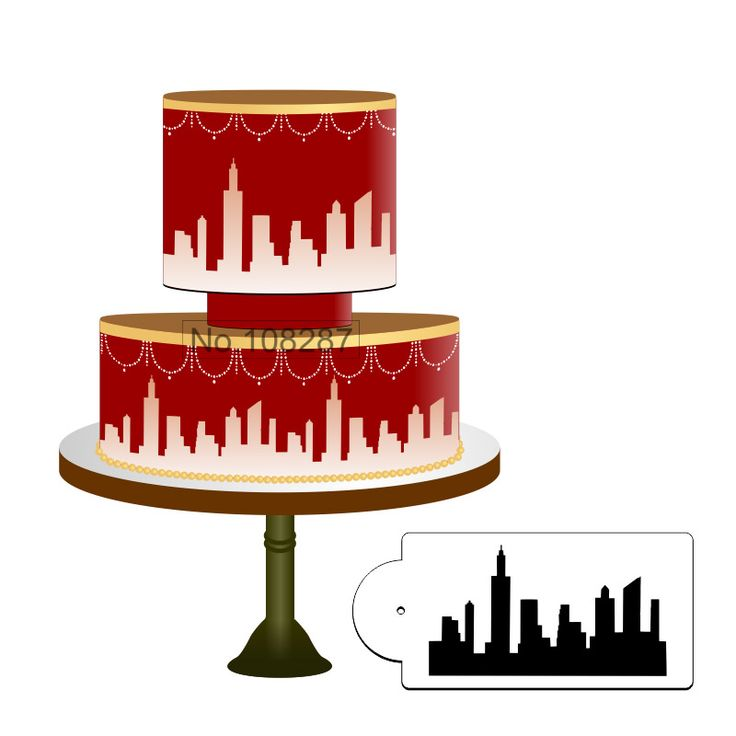 Hot Selling New York Skyline Cake Stencil, Cake Side Stencil, Stencil for cakes decorating, Cake Decorating Tools,Wall Dec