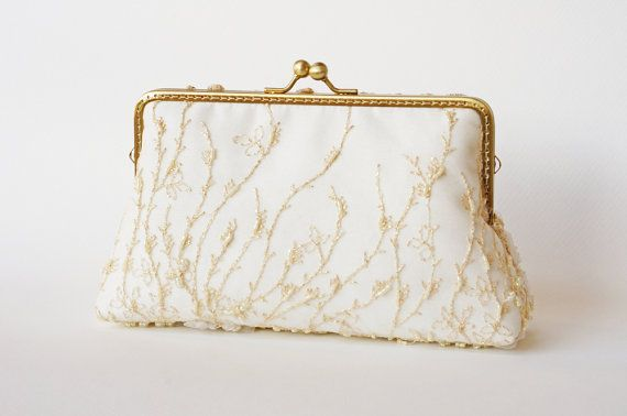 White Gold Lace Purse / Beaded Clutch / wedding bag by LeelaPurse