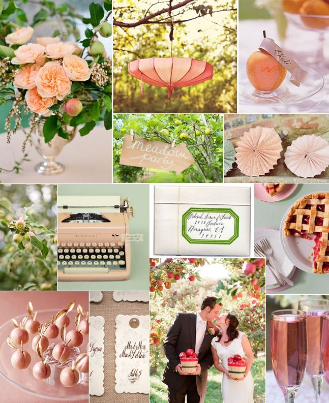 peach and greens: Blushes Pink, Apples Orchards, Peaches Colors, Flowers Colors, Colors Palettes, Green Colors, Apple Blossoms, Apples Blossoms, Apples Inspiration