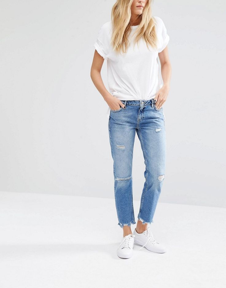 Image 1 of Mango Raw Hem Girlfriend Jean