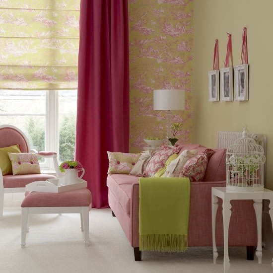Traditional living room  The classic scheme of this room has been given a fresh twist thanks to the traditional wallpaper design in alternative, vibrant colours. The same pattern has been used for the wallpaper and the blind fabric, creating added impact.