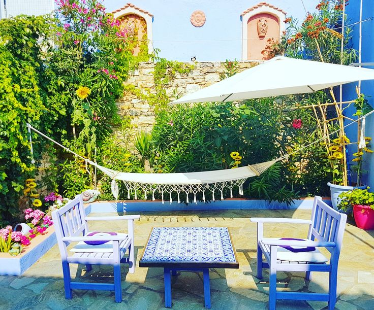 """I like to sit in my backyard. I go out on the hammock  and sit in the silence and kind of meditate. Nature is calming, and it's nice to go out there and clear my head"" - Devon Werkheiser  #oldvillage #chora #alonissos #sporades #greece #summer2017 #backyard #hammock #decoration #island"