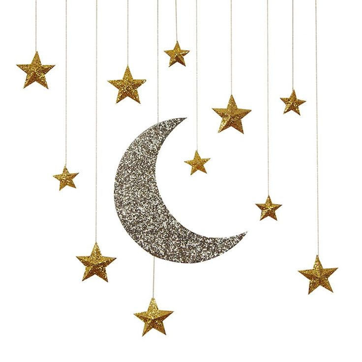 Glitter Moon Stars Hanging Decorations