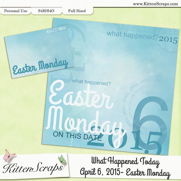Paper created for today, Easter Monday, April 6th, 2015, by KittenScraps. Digital Scrapbooking Freebie