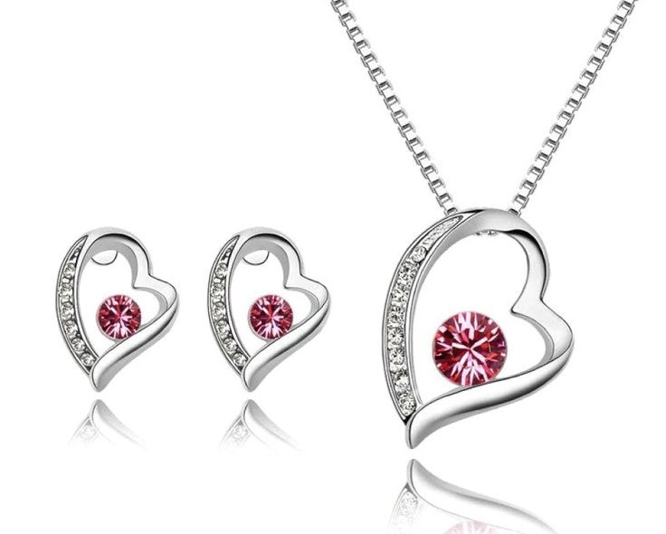 $9 for a Leaning Heart of Love Necklace & Earring Set