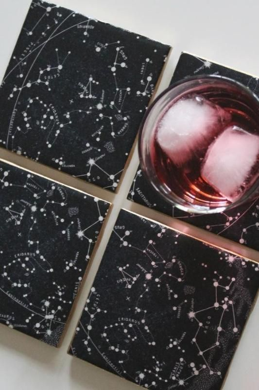 Oh My Stars-- A Constellation Chart Coaster DIY! #coasters #diy
