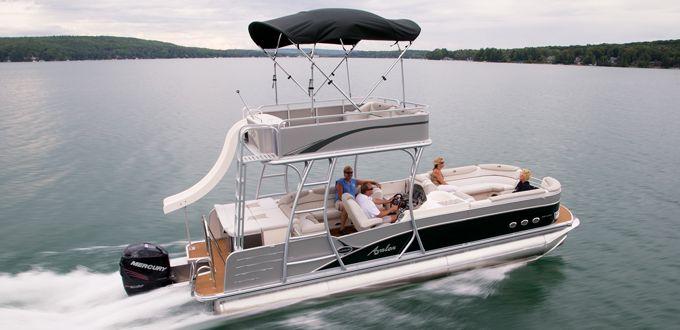 Double Decker Pontoon Boat with Slide | Paradise Funship | Avalon Pontoon Boats