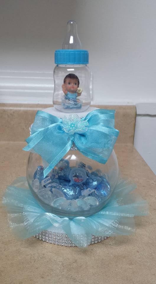 Centro de mesa para baby shower o bautizo arreglos y - Adornos baby shower nino ...