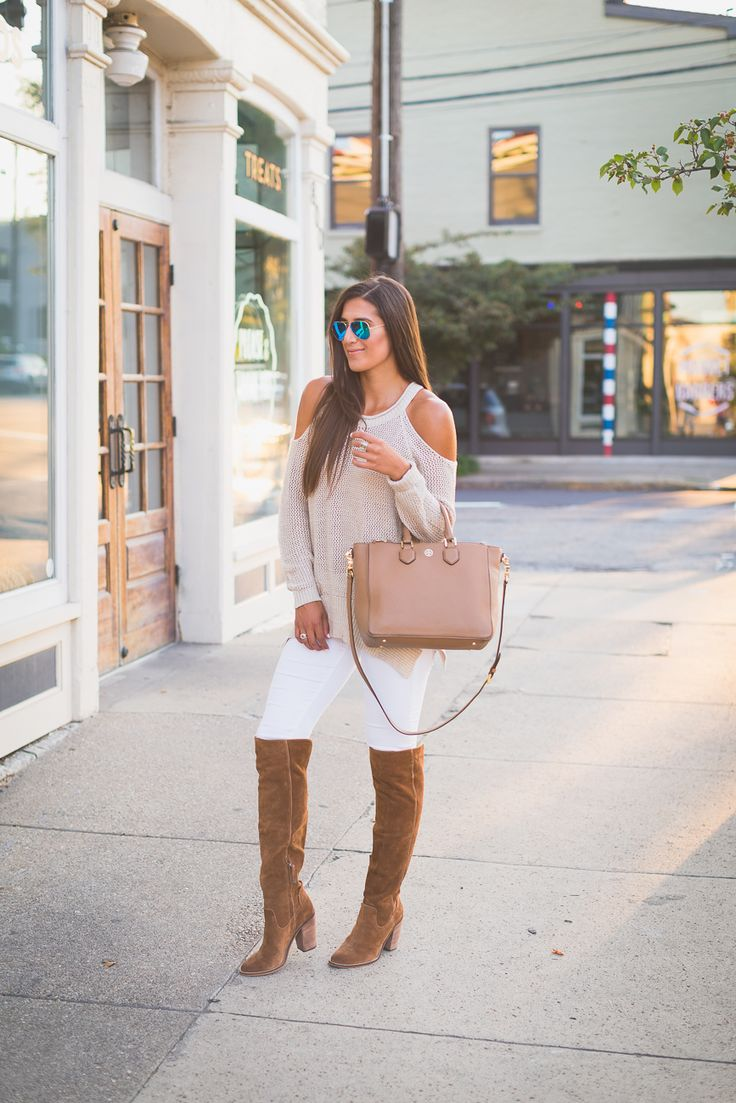 Nude off the shoulder sweater+white pants+brown knie long boots+beige shoulder bag. Fall outfit 2016