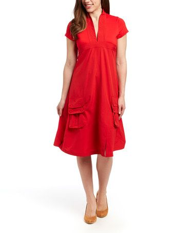 Look what I found on #zulily! Red V-Neck Dress - Women by Style NY #zulilyfinds