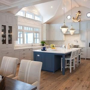 Light Gray Kitchen Cabinets, Cottage, kitchen, Pratt and Lambert Marble Vein, Coastal Living