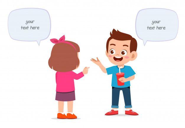 Happy Cute Little Kids Boy And Girl Talking Happy Kids Kids Boys Cute Kids