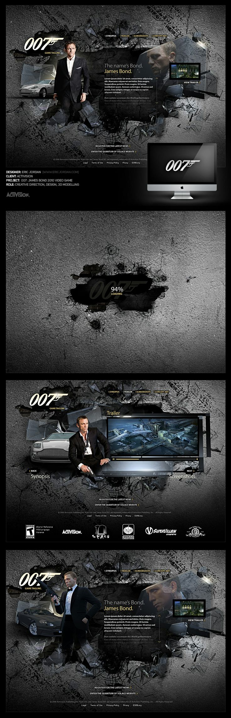 007: James Bond 2010 Website Pitch - Designed By Eric Jordan (www.ericjordan.com) #webdesign #graphic #design