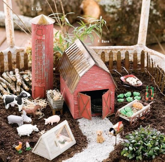 Fairy Garden Farm. Tin barn, silo. I'll be making a farm yard fairy garden REAL soon. There are so many little pieces and animals that can go with this. Check out The Great Canadian Miniature Garden Design Contest at www.thefairygarden.ca (Blog) (The Pic links to product page on the store)