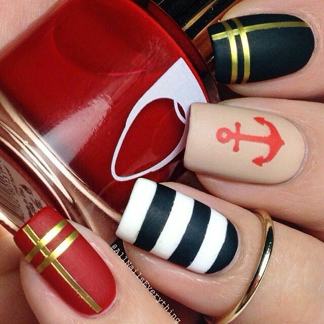 Nautical black gold red nude and white summer nailart