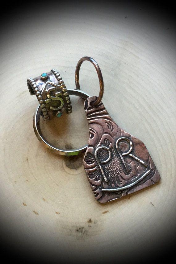 Custom made ear tag keychains. Ranch brand by RhinestoneAnnies