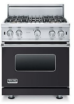 Viking VGIC53014BGG 30 Inch Pro-Style Gas Range with 4 Open Elements, 4.0 cu. ft. Oven Capacity, ProFlo Convection Oven, Gourmet-Glo Broiler, VariSimmer Setting, Four 15,000 BTU Open Burners and SureSpark Ignition System: Graphite Gray