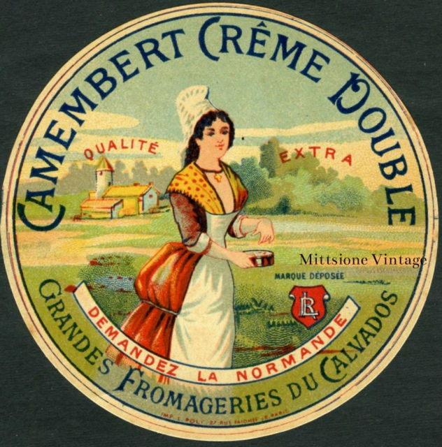 Antique French Cheese Label: Old 1900 Vintage France Camembert Fromage