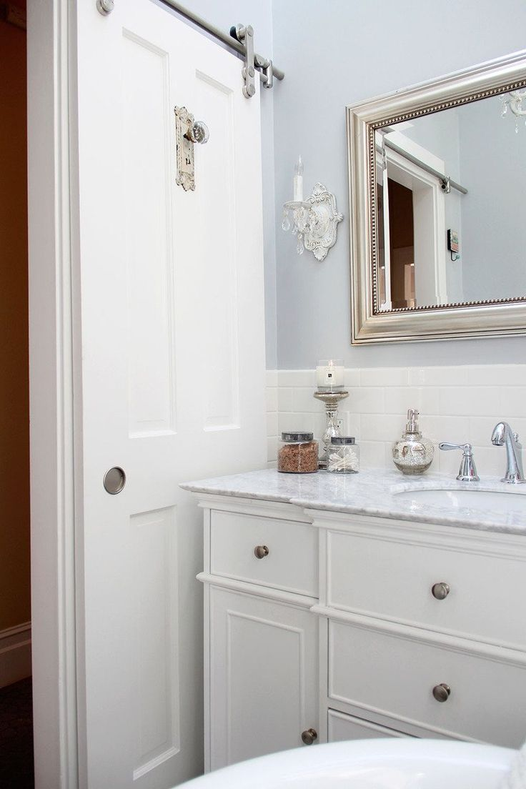 Bathroom pocket doors - Kyle S Cottage In The City Bathroom Barn Doorsliding