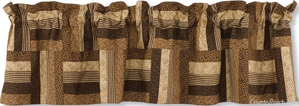 Shades of Brown Lined Patch Curtain Valance