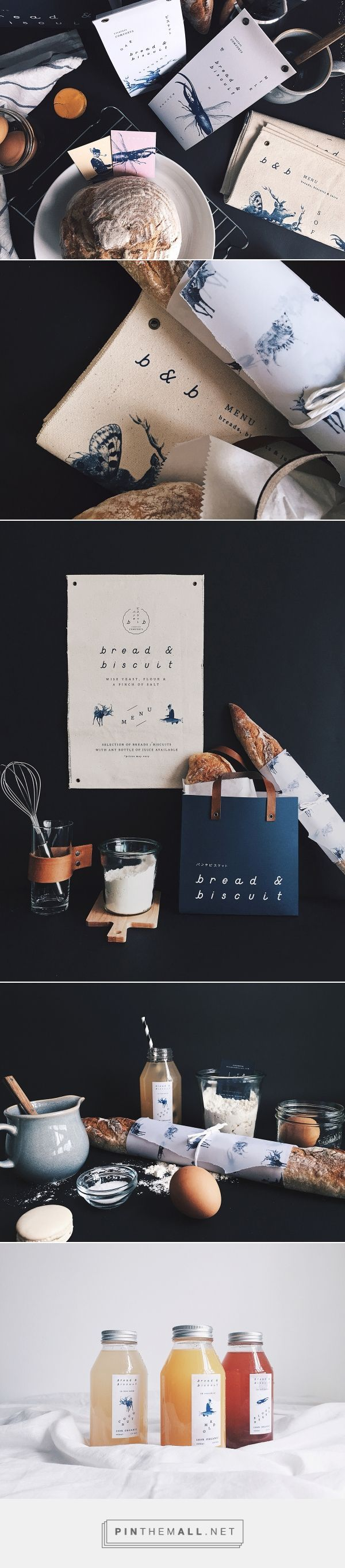 B&B Bread and Biscuit on Behance by Oddds Singapore, Singapore curated by Packaging Diva PD. Collaterals were extended to business cards, biscuit packaging sealed with antique brass eyelets, a paper carrier bag with leather handles to juice bottles.