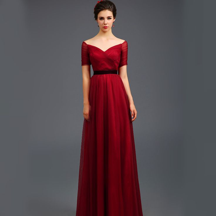 Cheap Elegant Crystal Beaded Red Lace A Line Long Evening Dresses 2015 Boat Neck Prom Party Dress