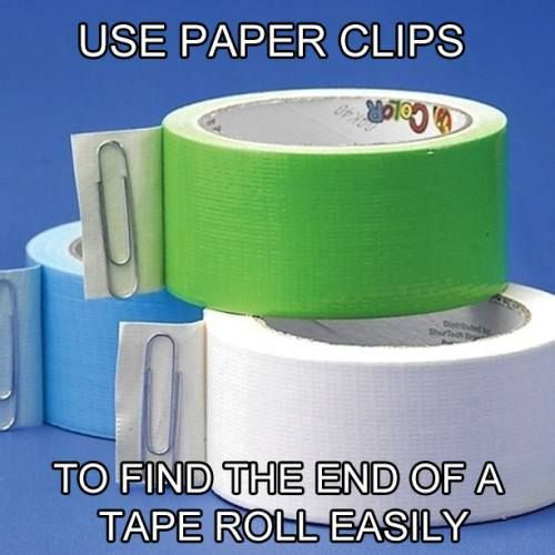 Do you struggle finding the end of your duct tape? Easily find your starting point by marking it with a paper clip!