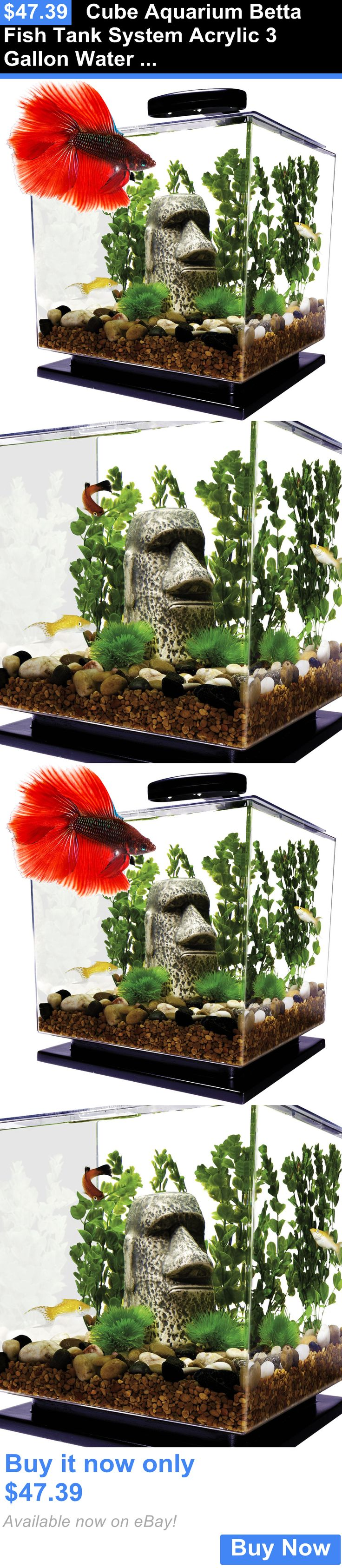 Animals Fish And Aquariums: Cube Aquarium Betta Fish Tank System Acrylic 3 Gallon Water Filter Led Light Set BUY IT NOW ONLY: $47.39