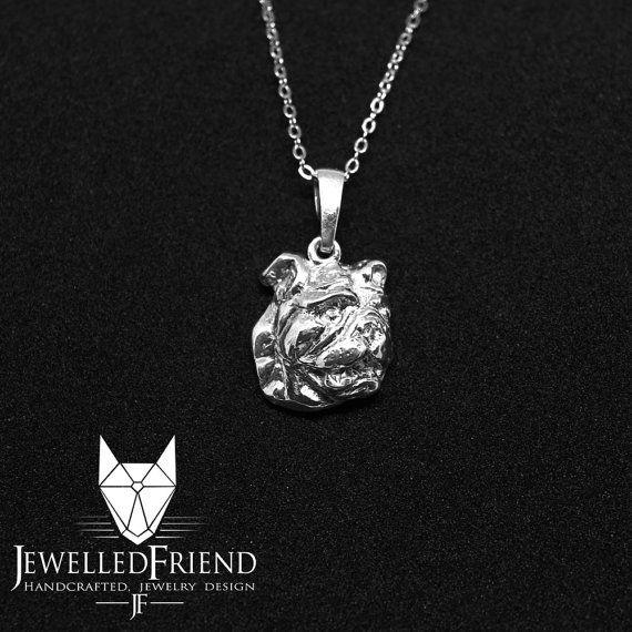 Check out English Bulldog jewelry pendant head on jewelledfriend