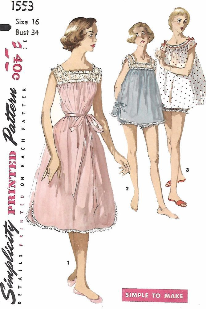 """Vintage 1950's Sewing Pattern Shortie Nightgown Baby Doll & Panties Bust 34"""""""