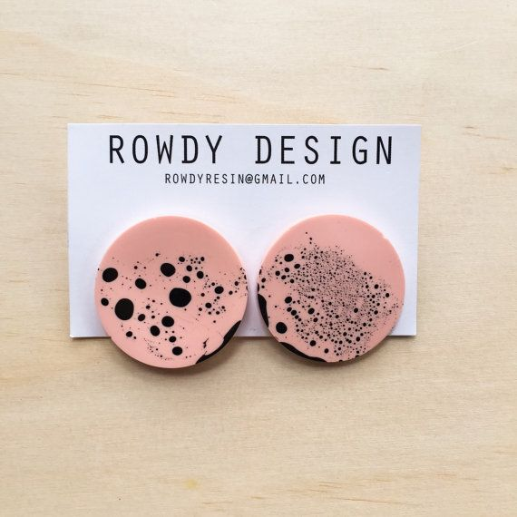 Round Disc Resin Swirl Stud Earrings Apricot with by RowdyDesign